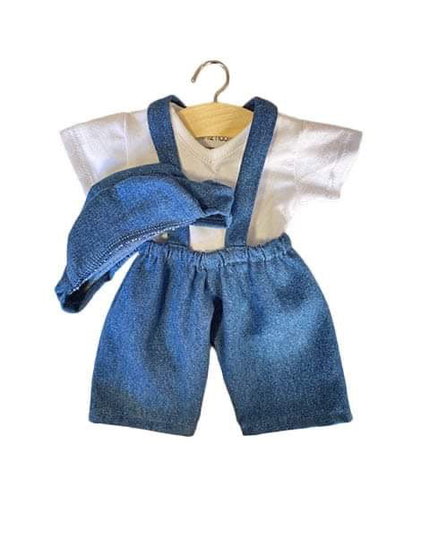 Doll Clothing -3 Piece Denim Overall Set