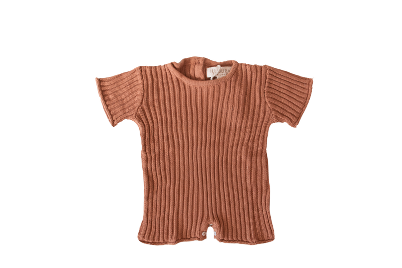 Essential Knit Romper-Rust