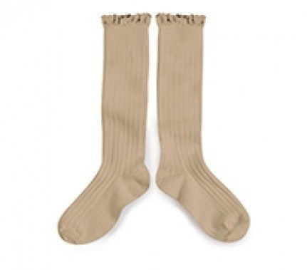 Knee High Ruffle Trim Socks-Taupe