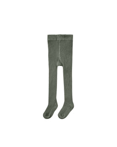 Rib Knit Tights- Forest
