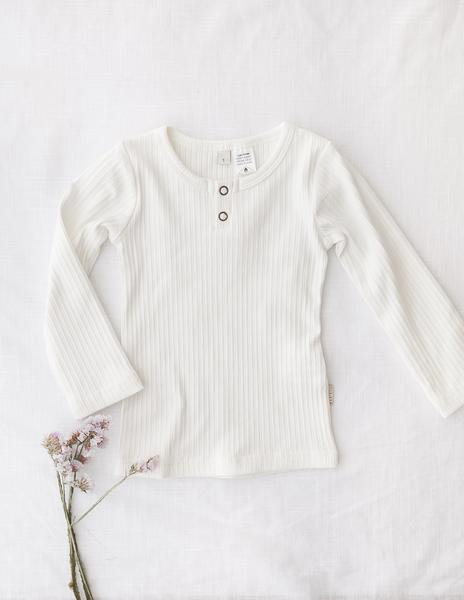 Willow Long Sleeve Cotton Top - Warm White