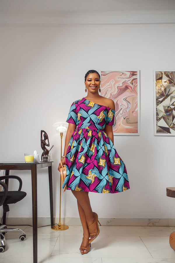 IMANI OFF SHOULDER DRESS [MULTICOLOR]