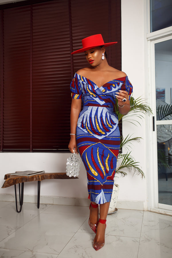 IDIA OFF SHOULDER MIDI DRESS