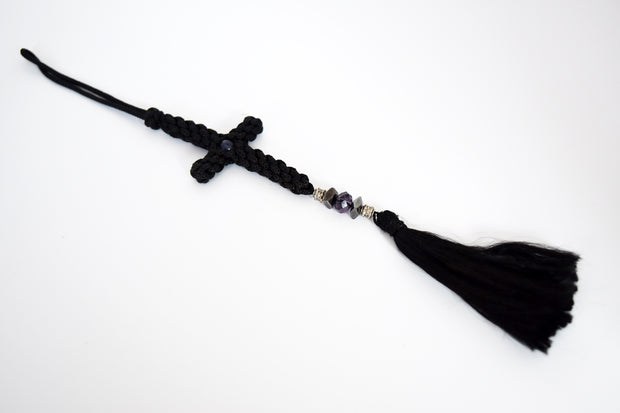 Embellished Knitted Cross with Beads & Tassel - Athonite