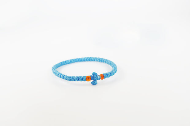 Wax Prayer Bracelet with Knitted Cross & Beads - Athonite