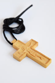 Hand Carved Boxwood Cross / Necklace - Athonite