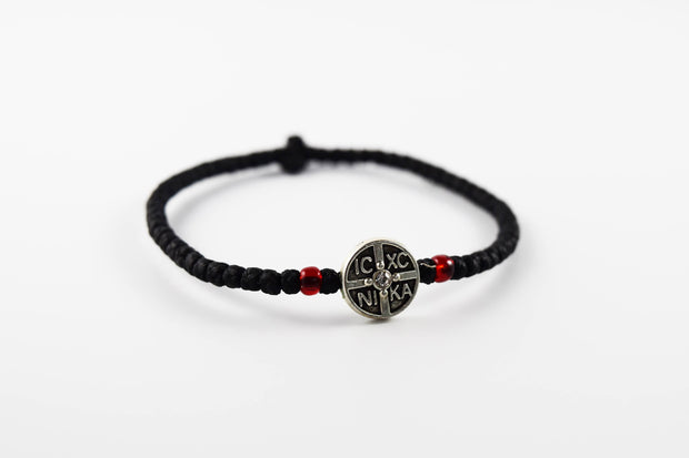 Wax Prayer Bracelet w/ IC XC NI KA Medallion - Athonite