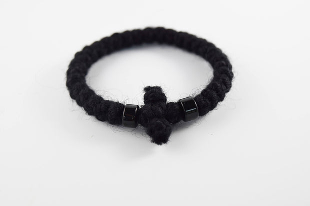 Wool Prayer Bracelet w/ Knitted Cross - Athonite