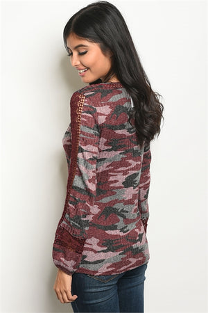 Burgundy Gray Camouflage Top