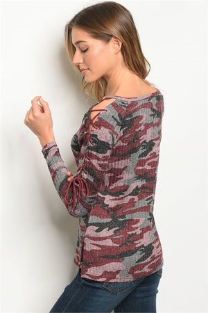 Burgundy Camouflage Top