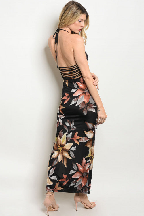 Long Black Floral Print Dress