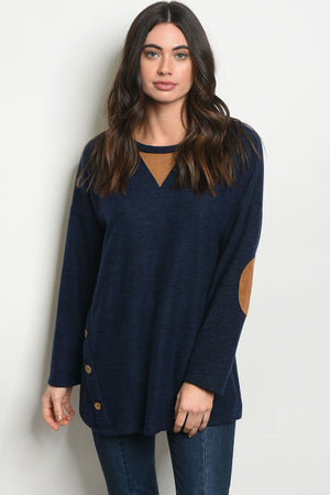 Suede Elbow Patch Tunic Top