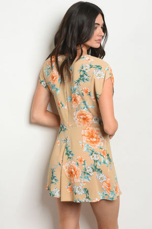 Taupe Floral Print Romper