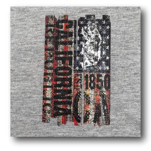 Mens V-Neck T-Shirt with California Bear and American Flag