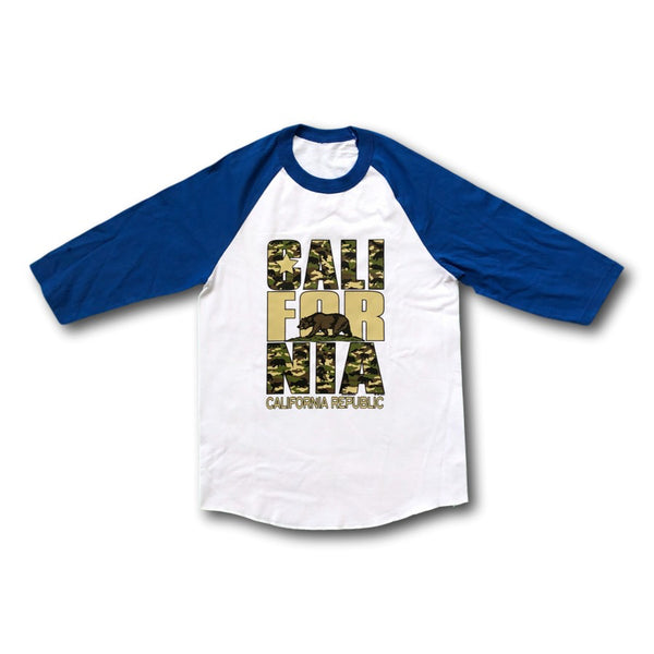 California Camo White and Black 3/4 Sleeve Graphic T-Shirt