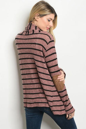 Mauve & Black Stripes Cardigan