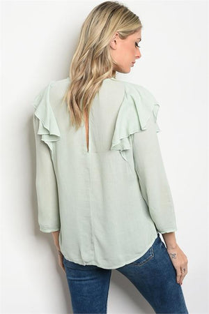 Mint Lace Ruffle Top