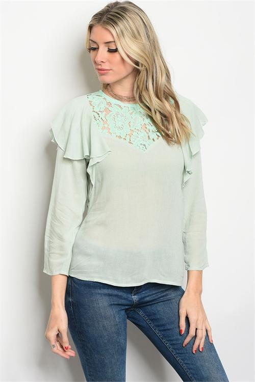 Women's Mint Lace Ruffle Top