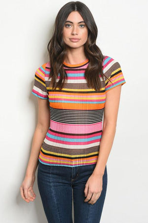 Mock Neck Striped Top