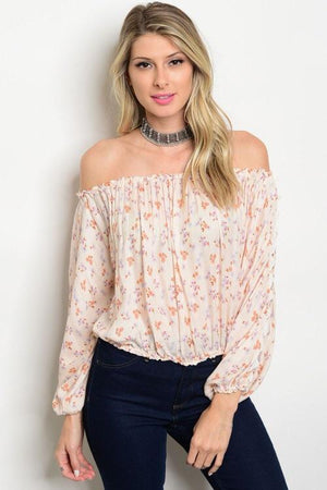 Peach Floral Off The Shoulder Top