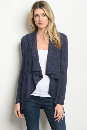 Pleated Navy Long Sleeve Cardigan