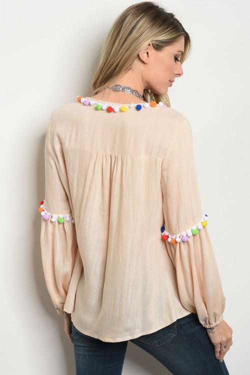Pom Pom Yolk Tie Long Sleeve Blouse