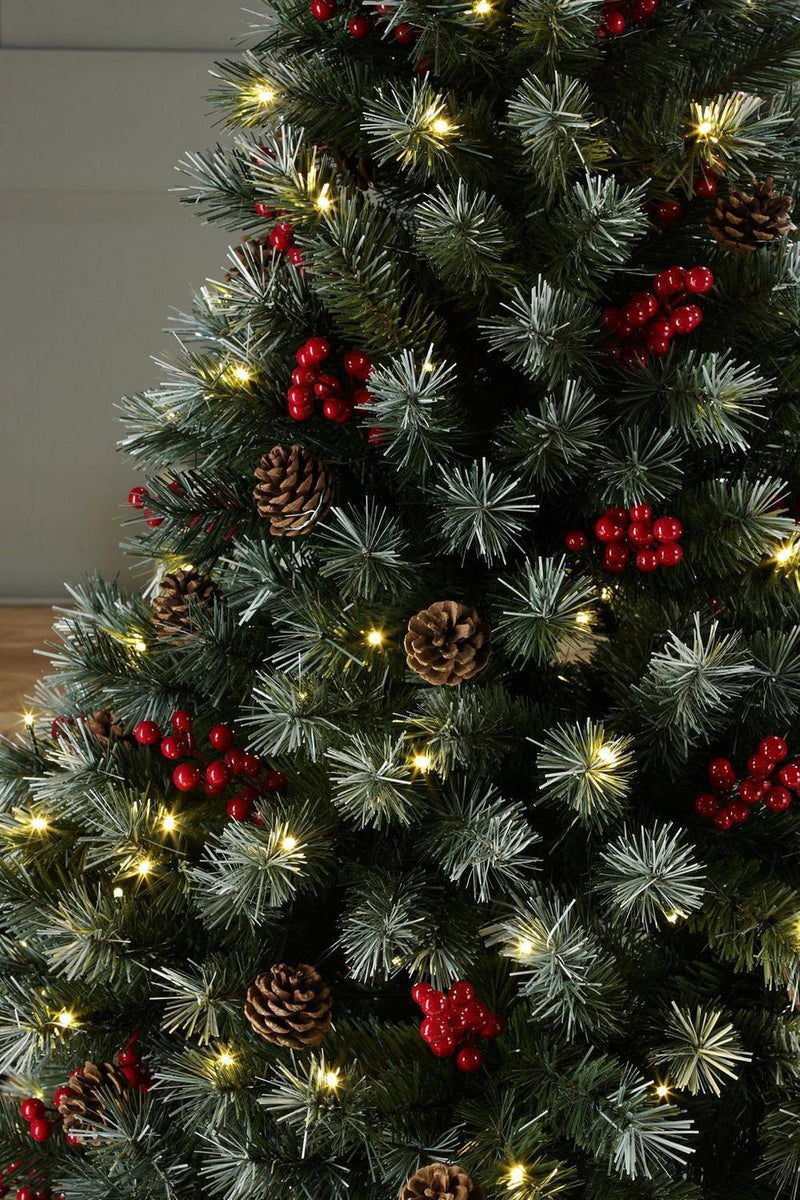 buy popular 01ba9 2ae38 Luxury Pre Lit Frosted Christmas Tree Warm White LED Lights Berries & Cones  4FT 5FT 6FT 7FT