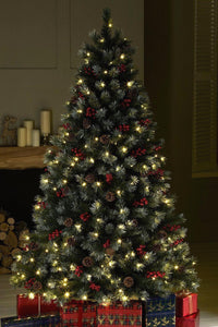 7 Ft Christmas Tree Prelit.Luxury Pre Lit Frosted Christmas Tree Warm White Led Lights