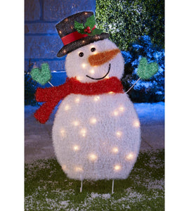 Outdoor Snowman Christmas Decorations.Outdoor Snowman White Tinsel Christmas Silhouette Clear Lights Outdoor Decoration Garden