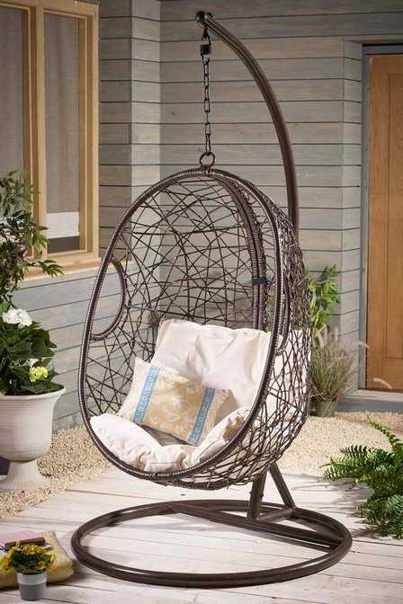 Awesome Rattan Effect Hanging Egg Chair Brown Patio Garden Furniture With Large Cushion Caraccident5 Cool Chair Designs And Ideas Caraccident5Info