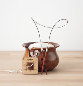 New! Knit Picks Dark Brown Mango Wood Yarn Bowl
