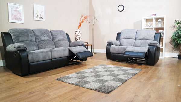 Concord 3 Seater & 2 Seater Manual Reclining Sofa Set - Grey/Black