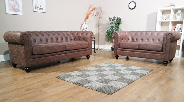 Chesterfield 3 Seater & 2 Seater Sofa Set - Brown
