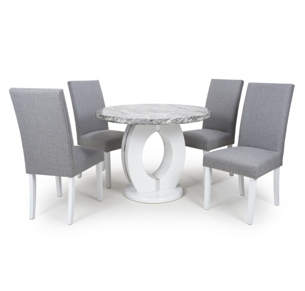 Neptune 100cm Round Grey/White Dining Table & 4 Silver Grey Randall Chairs