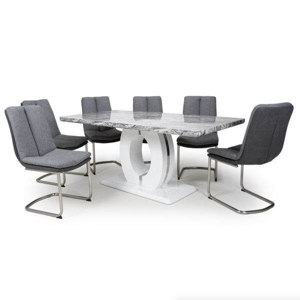 Neptune Large 180cm Grey/White Dining Table & 6 Light Grey Triton Chairs