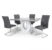 Neptune Medium 150cm Grey/White Dining Table & 4 Grey Callisto Chairs