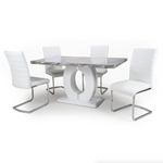 Neptune Medium 150cm Grey/White Dining Table & 4 White Callisto Chairs