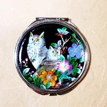 Load image into Gallery viewer, Mother of Pearl Compact Mirror - Owls
