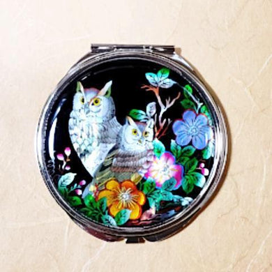 Mother of Pearl Compact Mirror - Owls