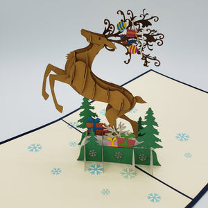 Leaping Holiday Reindeer Pop up