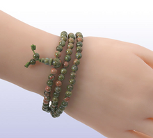 Load image into Gallery viewer, 3 Layer Unakite Jasper Mala Bracelet