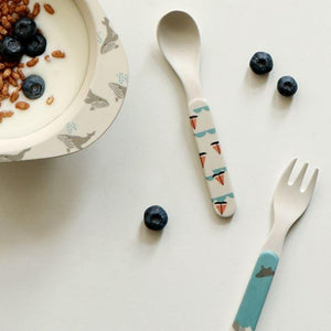 Bamboo Kids Spoon and Fork - Calm Ship