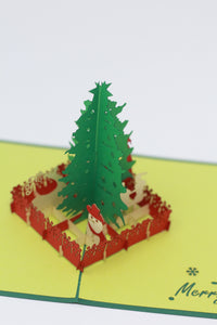 Christmas tree in a red fence