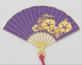 Gold-Plated Bookmark - Folding Fan (Purple)