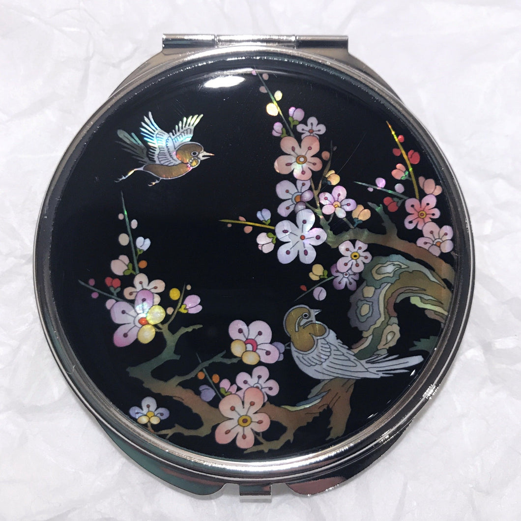 Mother of Pearl Compact Mirror - Cherry Blossoms & Sparrows