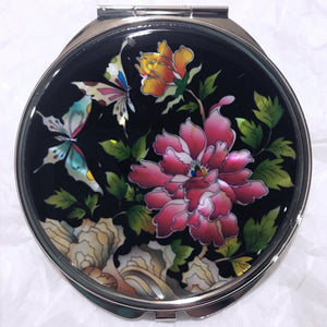 Mother of Pearl Compact Mirror - Butterflies in the Flower Garden