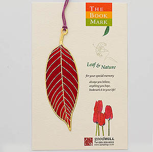 Gold-Plated Bookmark - Front of Leaf (Red)