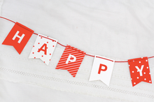 Load image into Gallery viewer, Happy Birthday Garland - Mini Red and White