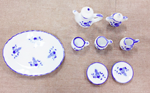 Load image into Gallery viewer, Blue and White Tea Set (10 pieces)
