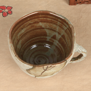 Buncheong Green Leaf Ceramic Mug